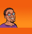 african man smiling hipster with glasses vector image