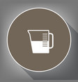 beaker sign white icon on brown circle vector image vector image