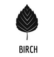 birch leaf icon simple black style vector image vector image