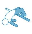 blue line pictogram man practice pole vault sport vector image
