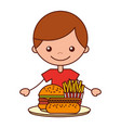 boy with burger hot dog and french fries vector image