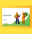 brazil carnival feast characters landing page vector image vector image