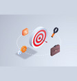 business aim strategy arrow hitting precision vector image
