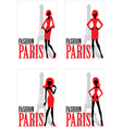 Card with silhouette of woman and Eiffel tower vector image vector image