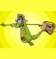 cartoon character running cheerful crocodile vector image vector image