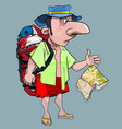cartoon male tourist with a backpack in fright vector image