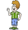 cartoon of a man there is wearing a casual clothes vector image