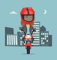 caucasian woman riding a motorcycle at night vector image vector image