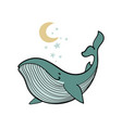 colored whale with stars and moon linear hand vector image