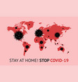 covid19-19 concept red world map with black bacter vector image