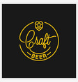 craft beer logo round linear logo beer hop vector image vector image