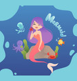 cute mermaid happy sea princess sitting on stone vector image