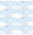 cute pattern with clouds and hearts on blue sky vector image vector image