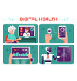 digital health on modern high vector image