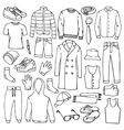 Doodle set with man clothes vector image