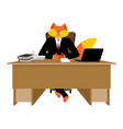 fox businessman boss wild cunning animal manager vector image vector image