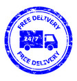 free delivery rubber stamp for post office vector image vector image