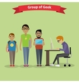 Geek Group Team People Flat Style vector image vector image
