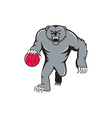 Grizzly Bear Angry Dribbling Basketball Isolated vector image vector image