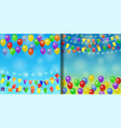 holiday backgrounds set with balloons and garlands vector image