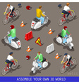 Isometric Flat 3d Vehicle Scooter Bicycle Set vector image vector image