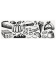 italian desserts pastries and cookies collection vector image vector image