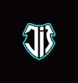 j i initial logo design with a shield shape vector image vector image
