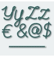 Letters Y Z and symbols dollar Euro - vector image
