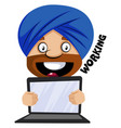 muslim human emoji with his laptop on white vector image vector image