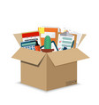 office accessories in a cardboard box vector image vector image