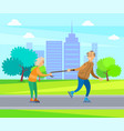 old people having fun in park man and woman vector image vector image