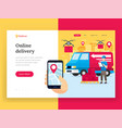 online delivery service landing page vector image vector image