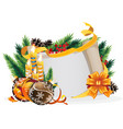 paper scroll with yellow bow candles and vector image vector image