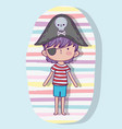 pirate boy wearing hat with skull and bones vector image