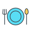 plate fork and spoon line icon restaurant vector image vector image