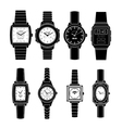 Popular Watches Styles Black Icons Set vector image vector image