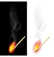 realistic burning match on white and black vector image