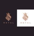 royal lion crown logo icon vector image