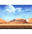 Seamless desert with silhouettes of spaceships vector image