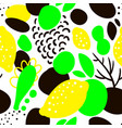 seamless pattern with yellow lemons in abstract vector image
