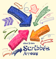 Set of bright scribble arrows hand-drawn on a vector image vector image