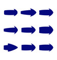 set of nine blue various arrows vector image
