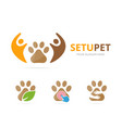 set of paw logo combination pet and family symbol vector image