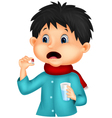 Sicked boy swallows pill vector image