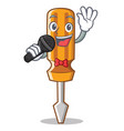 singing screwdriver character cartoon style vector image vector image