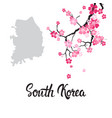 south korea map with beautiful blossom of sakura vector image vector image