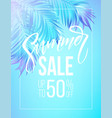 summer sale lettering design in a colorful blue vector image vector image