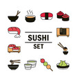 sushi oriental japanese menu traditonal food icons vector image vector image
