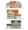 three suburban houses vector image vector image