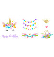 unicorn head with flowers - card and shirt design vector image vector image